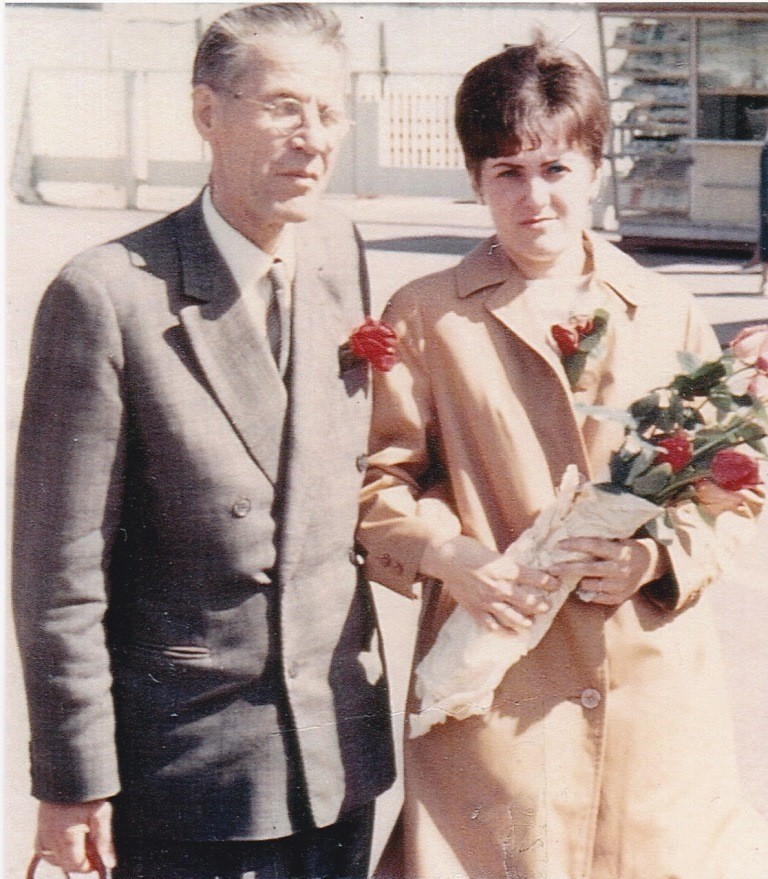 Maie with her dad in Tallinn in 1968