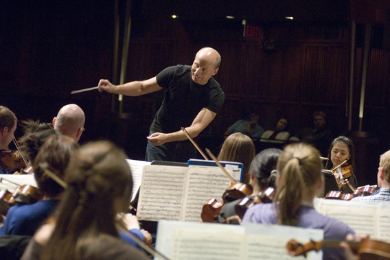 CSO maestro Paavo Jarvi conducts a practice session with the CCM Philharmonic.