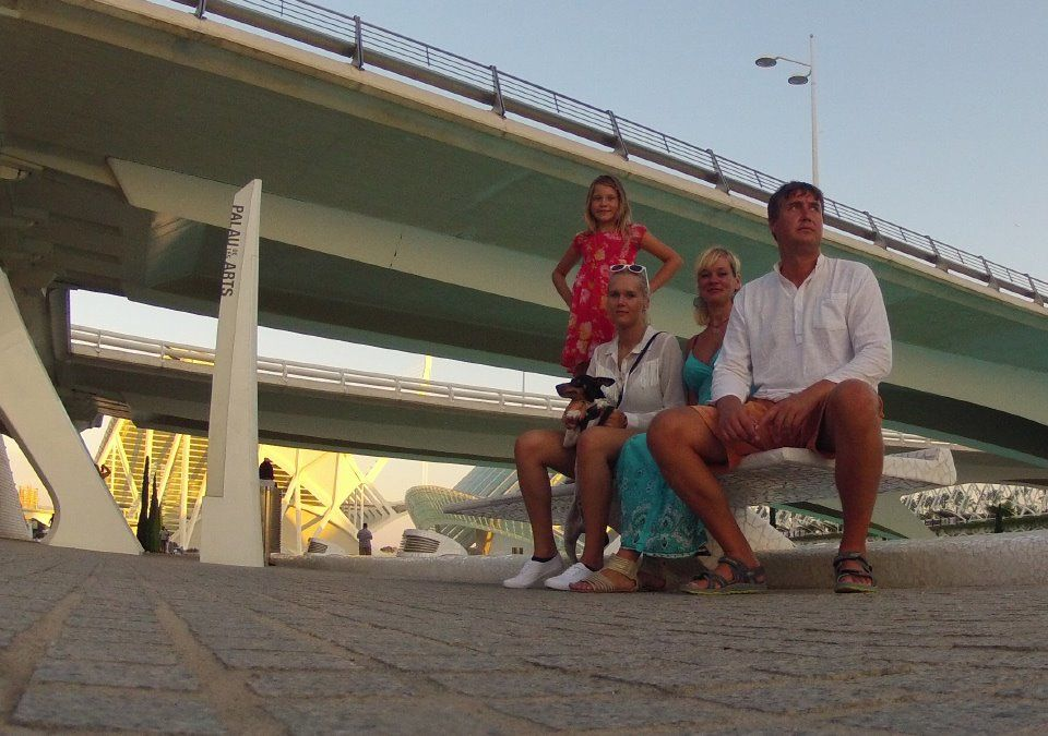 Under a Valencian highway: (from left) Bianka, Agnetha, Helen and Toomas.