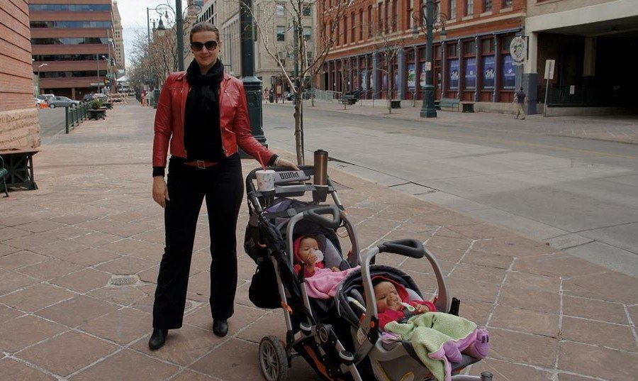 Strolling Denver streets with baby twins.