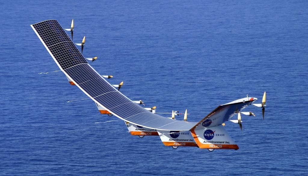 Solar-powered plane.