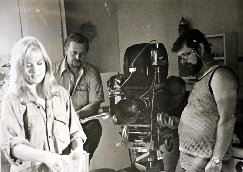 Bill Rebane (second from left) at the set of The Giant Spider Invasion.