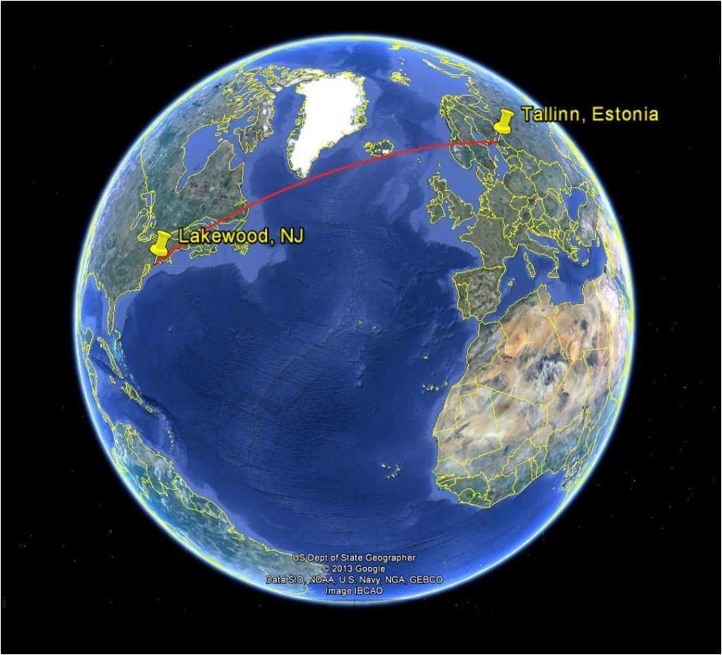Tallinn and Lakewood on a Globe