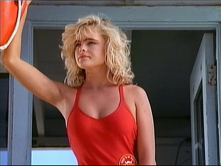 Erika Eleniak on the Baywatch set