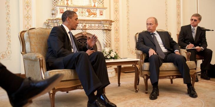 President Barack Obama meets with Prime Minister Vladimir Putin at his dacha outside Moscow, Russia, July 7, 2009. (Official White House Photo by Pete Souza)