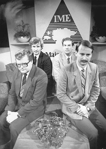 IME was first proposed by activists Edgar Savisaar (first left), Siim Kallas (first right) and journalist Tiit Made (far right) and scientist Mikk Titma (far left)