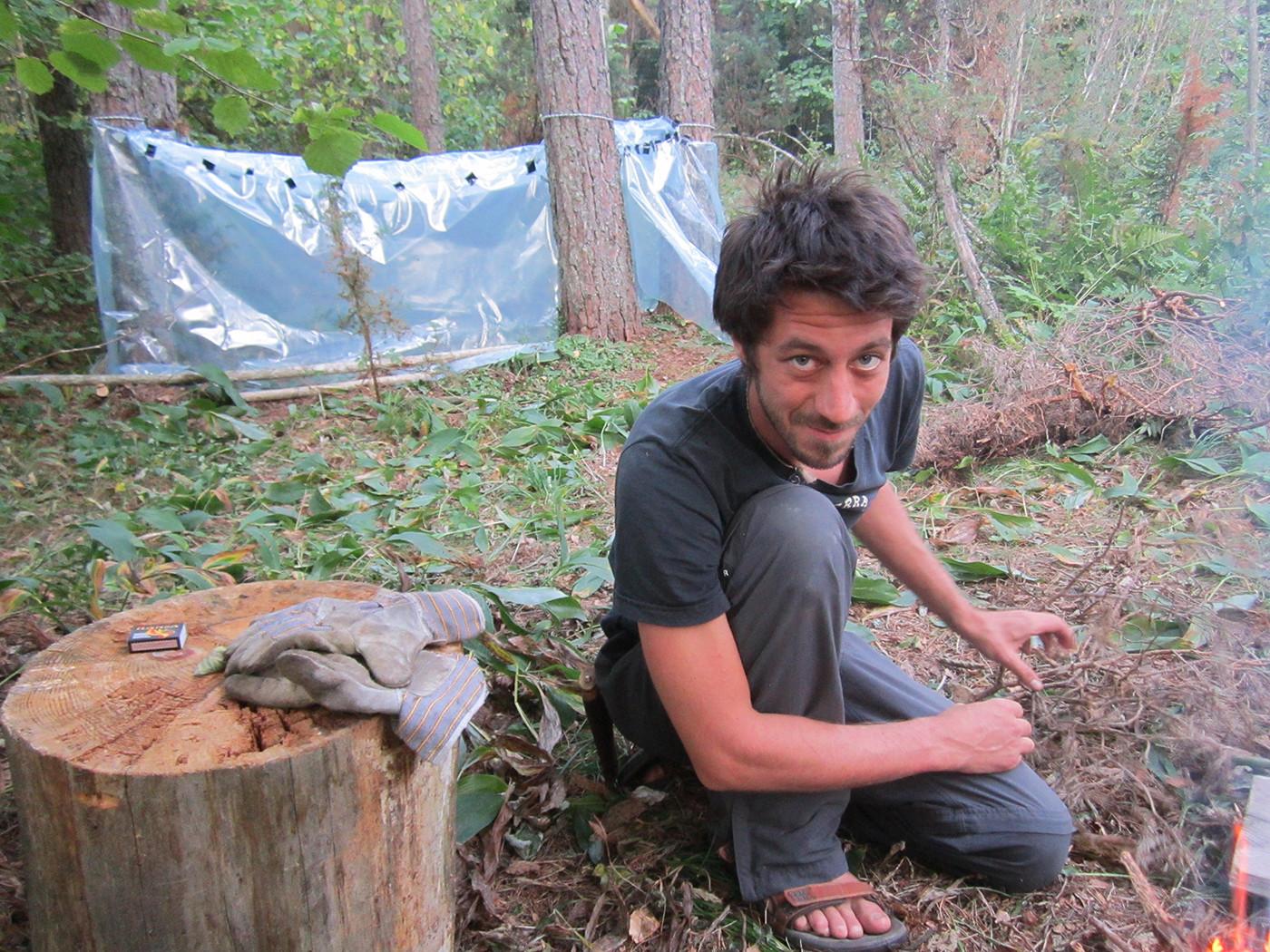 Adam Cullen in Noarootsi. The structure in the background is an Estonian plastic sauna.
