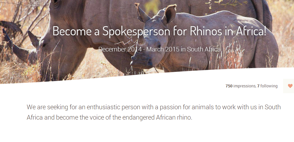 Become a Spokesperson for Rhinos in Africa Jobbatical.com Beta
