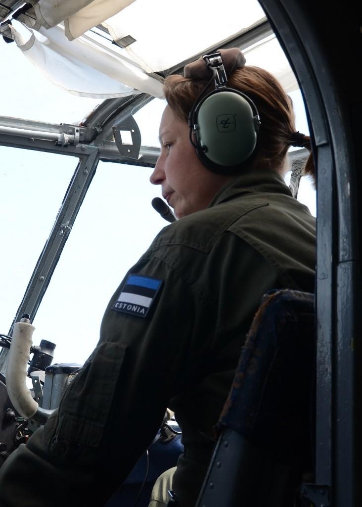 Pille Joala on a training flight