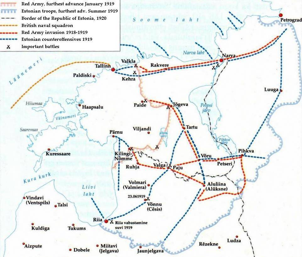 Estonian War of Independence map