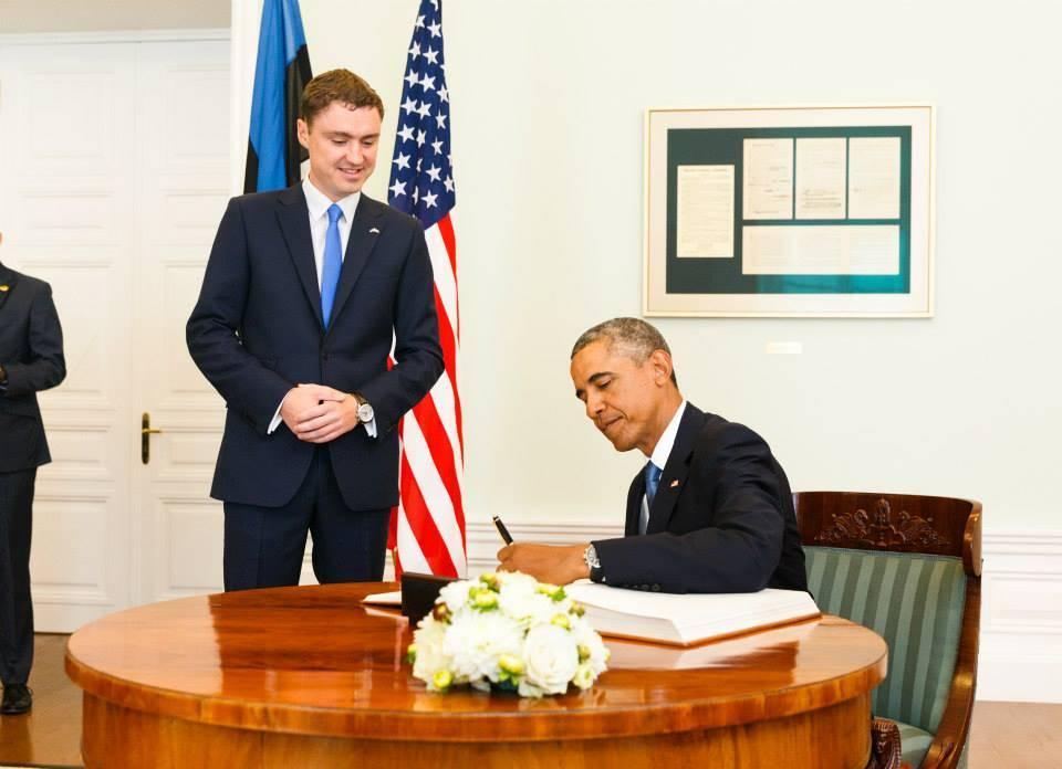 Taavi Rõivas meeting Barack Obama in Stenbock House in September 2014