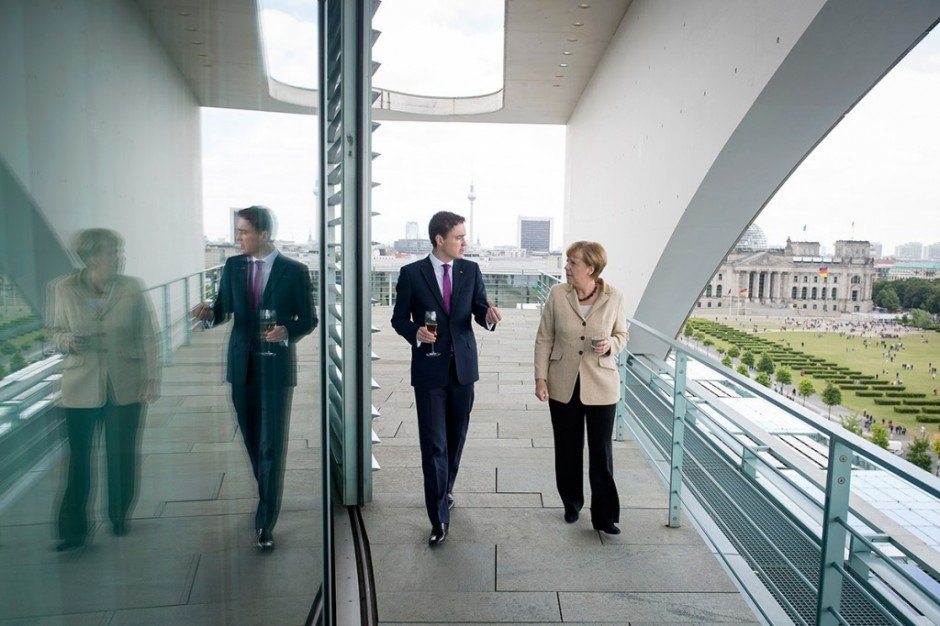 Taavi Rõivas with German Chancellor Angela Merkel