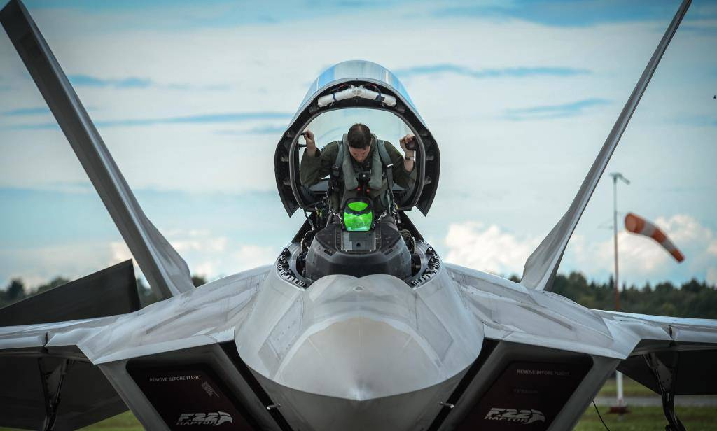 An F-22 Raptor pilot from the 95th Fighter Squadron based at Tyndall Air Force