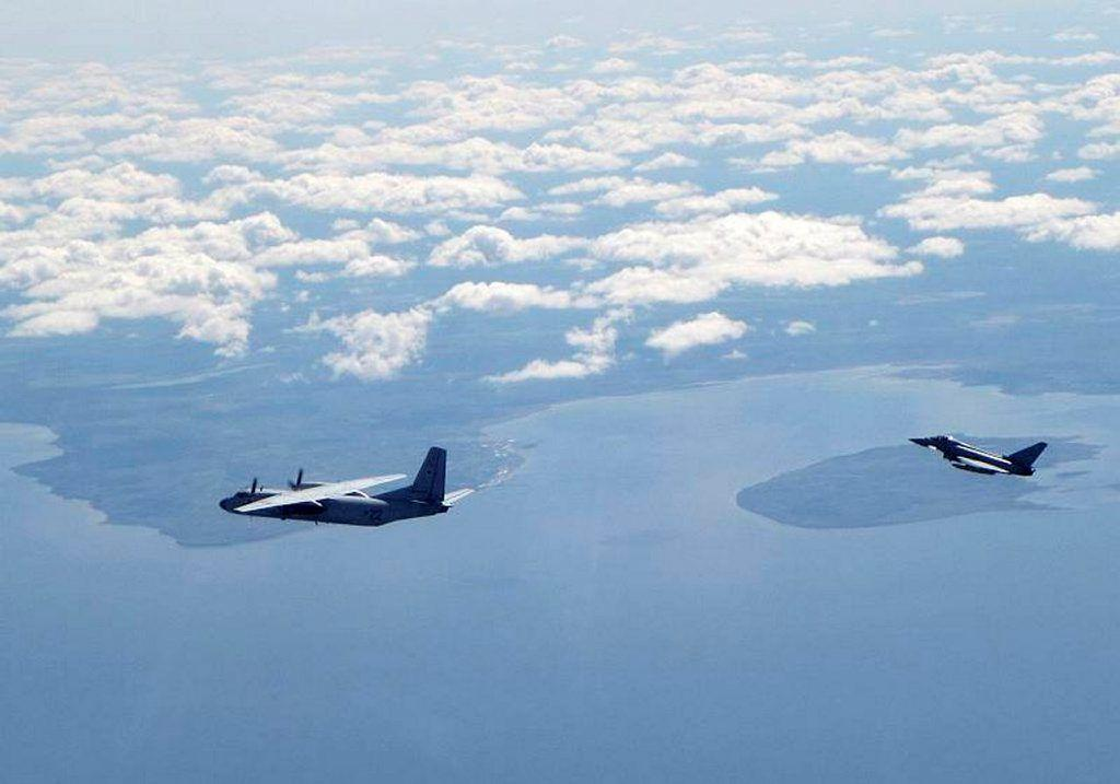 RAF Typhoon fighter intercepting a Russian aircraft. Photo: UK Ministry of Defence