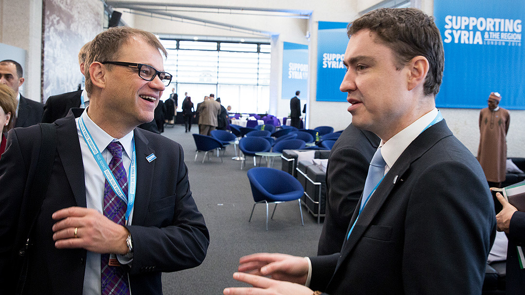 The Estonian prime minister, Taavi Rõivas (right), and his Finnish counterpart, Juha Sipilä. Photo: Tauno Tõhk; Finnish government