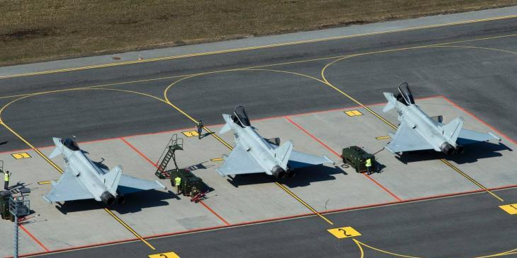 Typhoon aircraft arrival at the Amari Air Base in Estonia as the prepare to start a period of Baltic Air Policing. Photo: UK Ministry of Defence