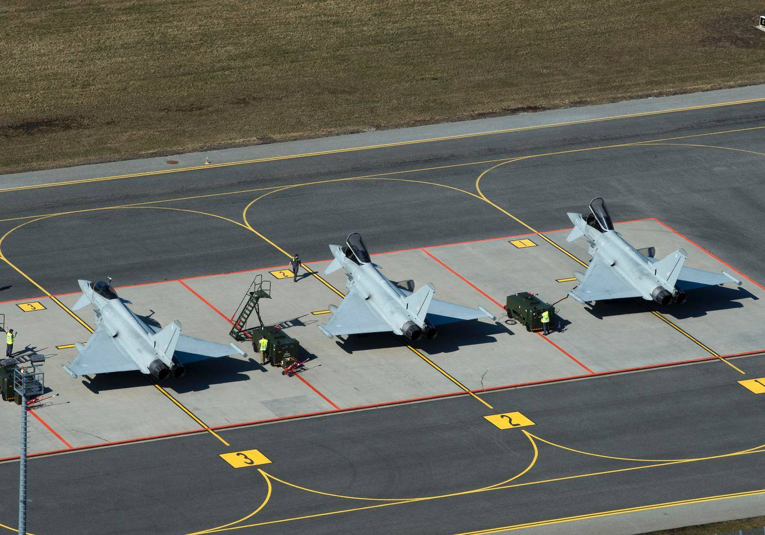 Typhoon aircraft arrival at the Amari Air Base in Estonia as they prepare to start a period of Baltic Air Policing. Photo: UK Ministry of Defence