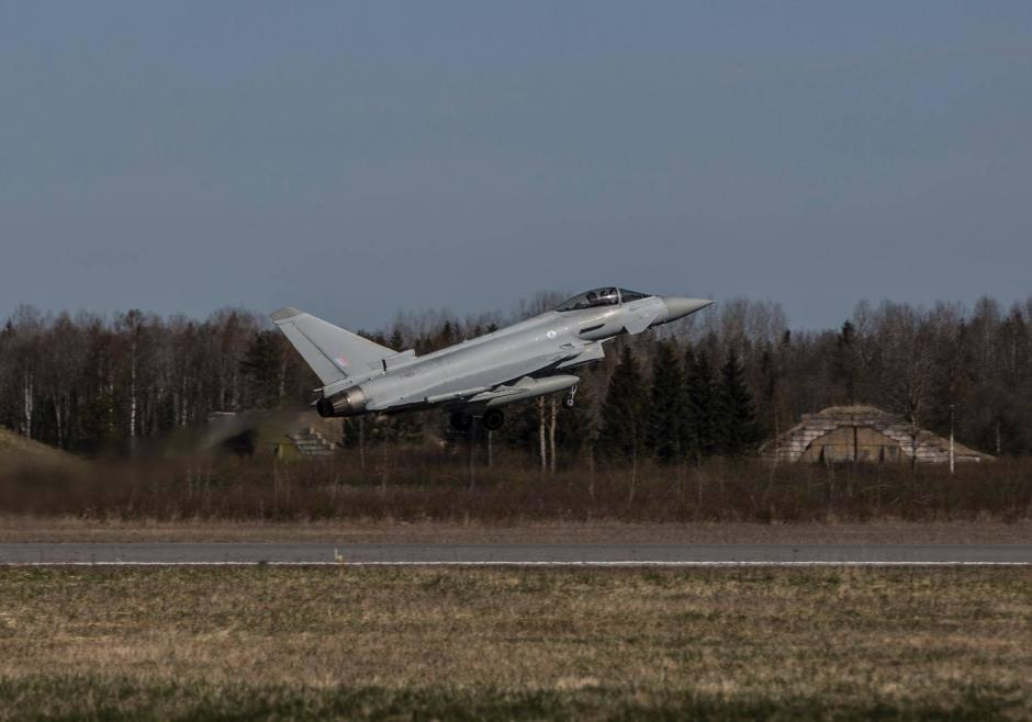 Typhoon aircraft lifting off from the Ämari Air Base. Photo: UK Ministry of Defence
