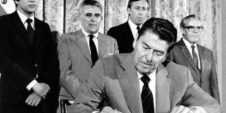 President Reagan signs a proclamation Monday at the White House, naming June 14, 1983 Baltic Freedom Day