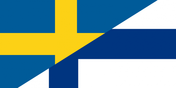 Sweden and Finland flags