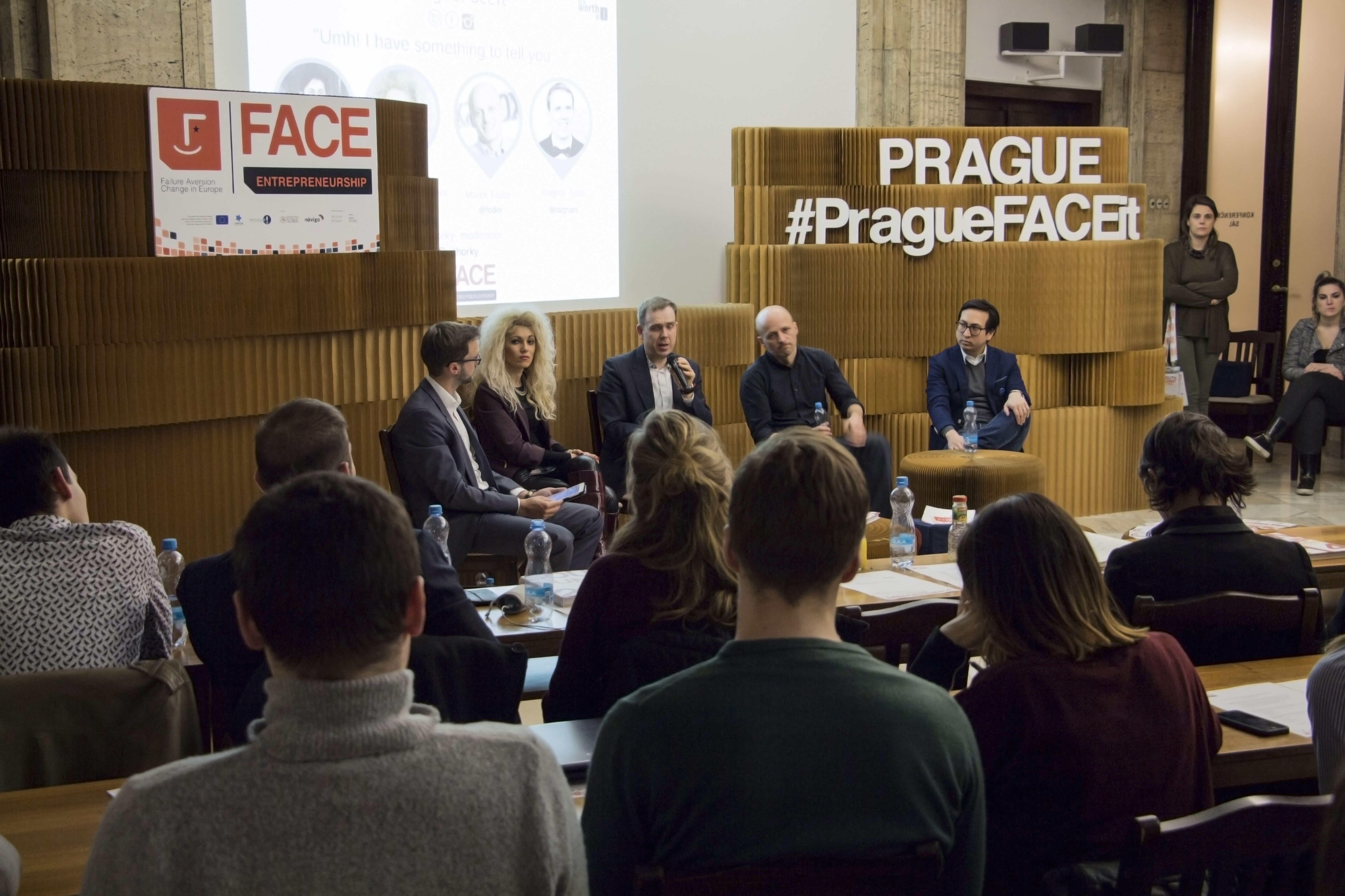 A FACE event in Prague. Pictured, from left to right: the CEO at Brand Embassy, Vitek Horky; the CEO and co-founder of BLITAB Technologies, Kristina Tsvetanova; a co-founder of Atrápalo and Kantox, Marek Fodor; a co-founder of Dashmote, Dennis Tan; and a co-founder of Pipedrive and Garage48 hackathons, Ragnar Sass.