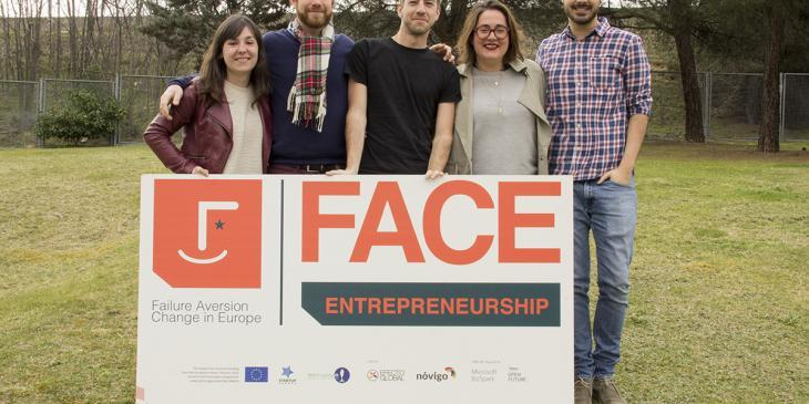 The FACE team, from left to right: the international press officer, Ana Martínez; the project officer, Ricardo de Rada; the international communication officer, Javier Magarinos; the project manager, Blanca Rabena; and the video editor, Guillermo Verdejo.