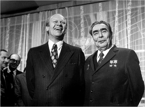 President Gerald Ford and Soviet leader Leonid Brezhnev prior to their summit meeting in Vladivostok November 24, 1974