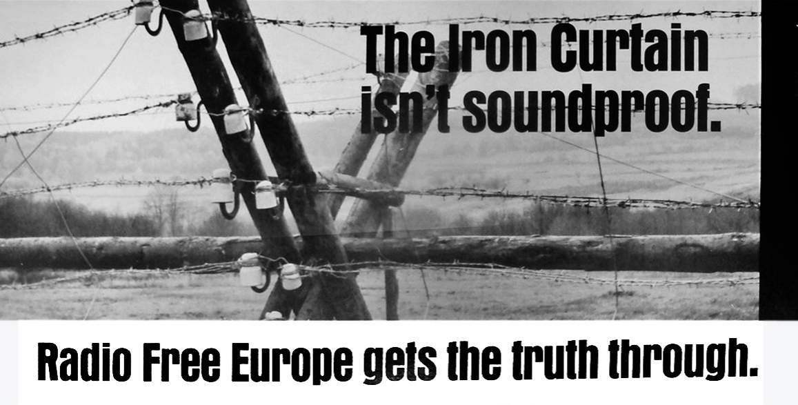 Radio Free Europe poster during the Cold War