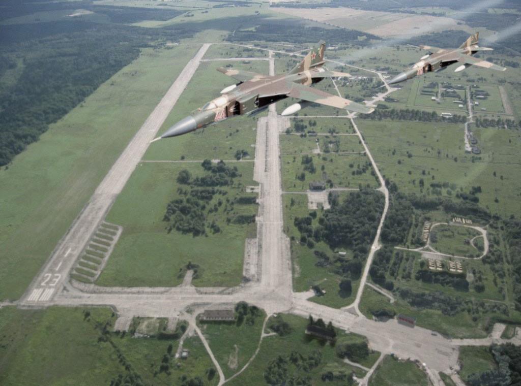 Soviet MIG-23 fighters above Tapa airfield in Soviet-occupied Estonia, 1980s.
