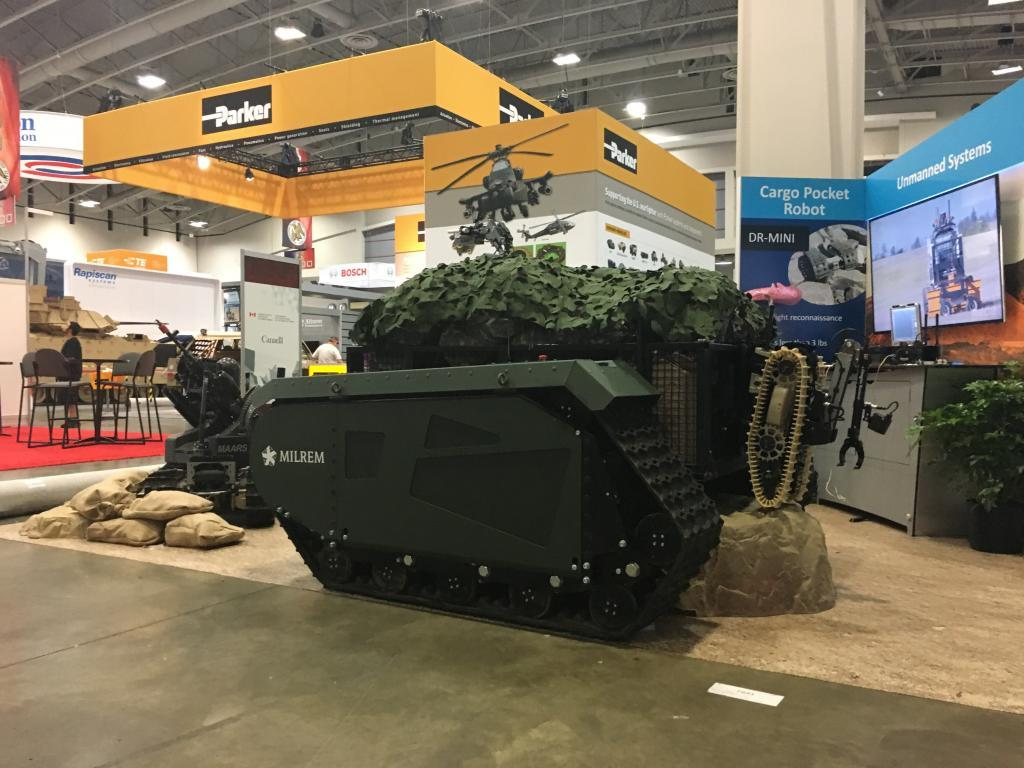 Milrem's the Titan, the first fully modular, hybrid unmanned ground vehicle (UGV) that complies with the initial requirements put forth in the US Army's Squad Multipurpose Equipment Transport Initiative.