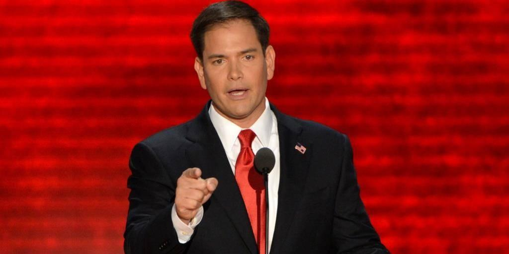 US Senator from Florida Marco Rubio addresses the audience at the Tampa Bay Times Forum in Tampa, Florida, on August 30, 2012 on the final day of the Republican National Convention (RNC). The RNC will culminate later today with the formal nomination of Mitt Romney and Paul Ryan as the GOP presidential and vice-presidential candidates in the US presidential election. AFP PHOTO Stan HONDA (Photo credit should read STAN HONDA/AFP/GettyImages)