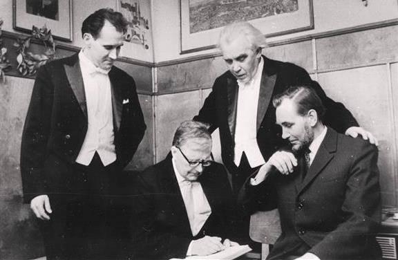 Olev Oja, Dmitri Šostakovitš, Gustav Ernesaks and Veljo Tormis in 1970 in Tallinn