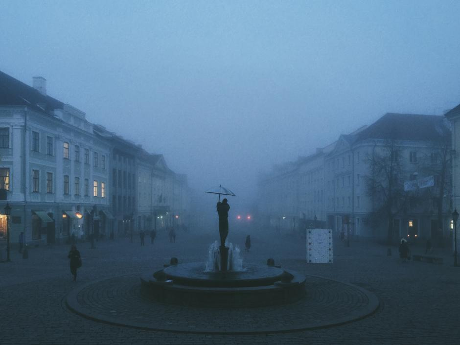 Tartu Town Hall Square. This laid-back classicist old town is where my Tartu office lies. Nothing beats the foggy weather during the blue hours of short late autumn days. It's soft, sweet and relaxing for some – and, yes, appallingly morbid for others.