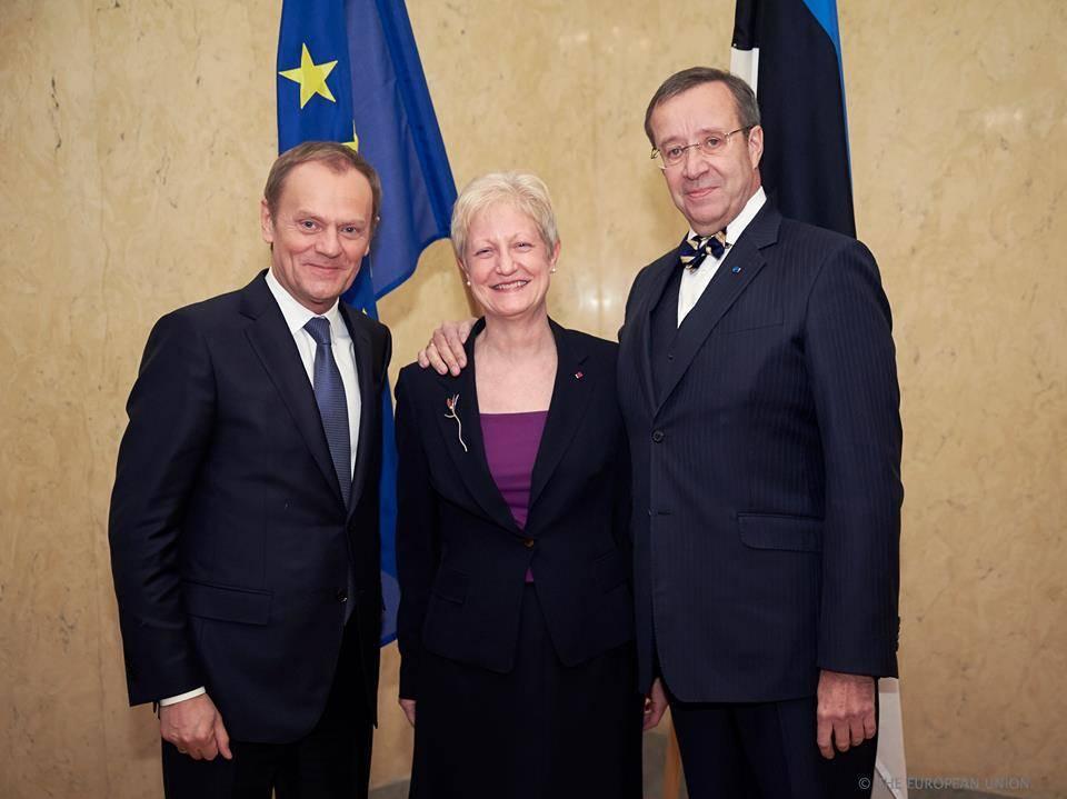 From left: Donald Tusk, Riina Kionka and the former president of Estonia, Toomas Hendrik Ilves. © European Union