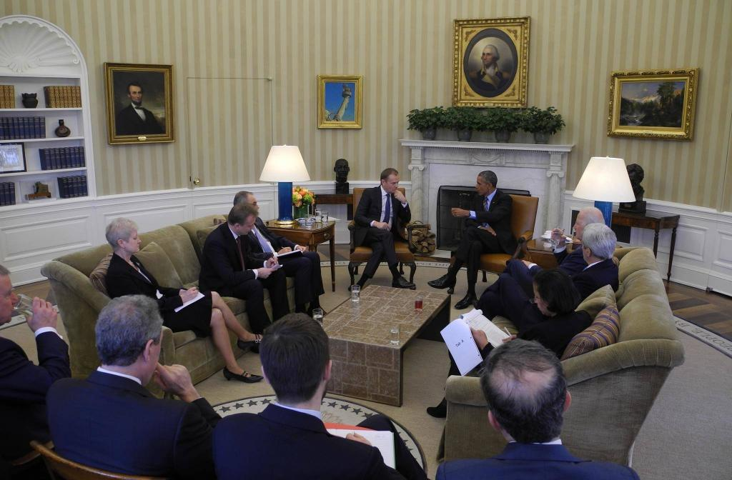 Donald Tusk meeting with the then-US president, Barack Obama. Riina Kionka on the left side couch. © European Union