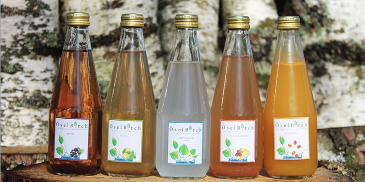 Different flavours of birch water from ÖselBirch.