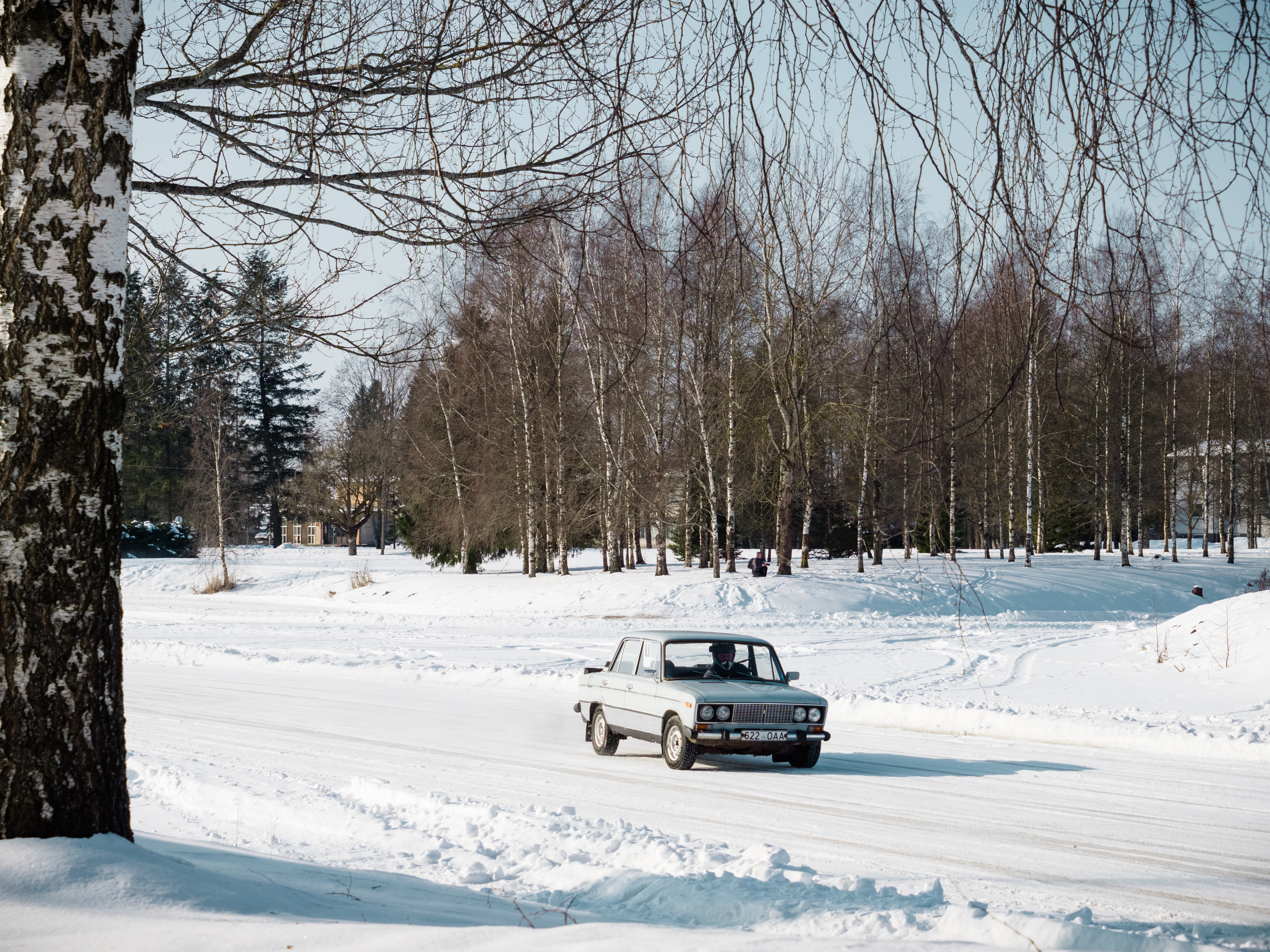 An old Soviet Lada racing on the ice.