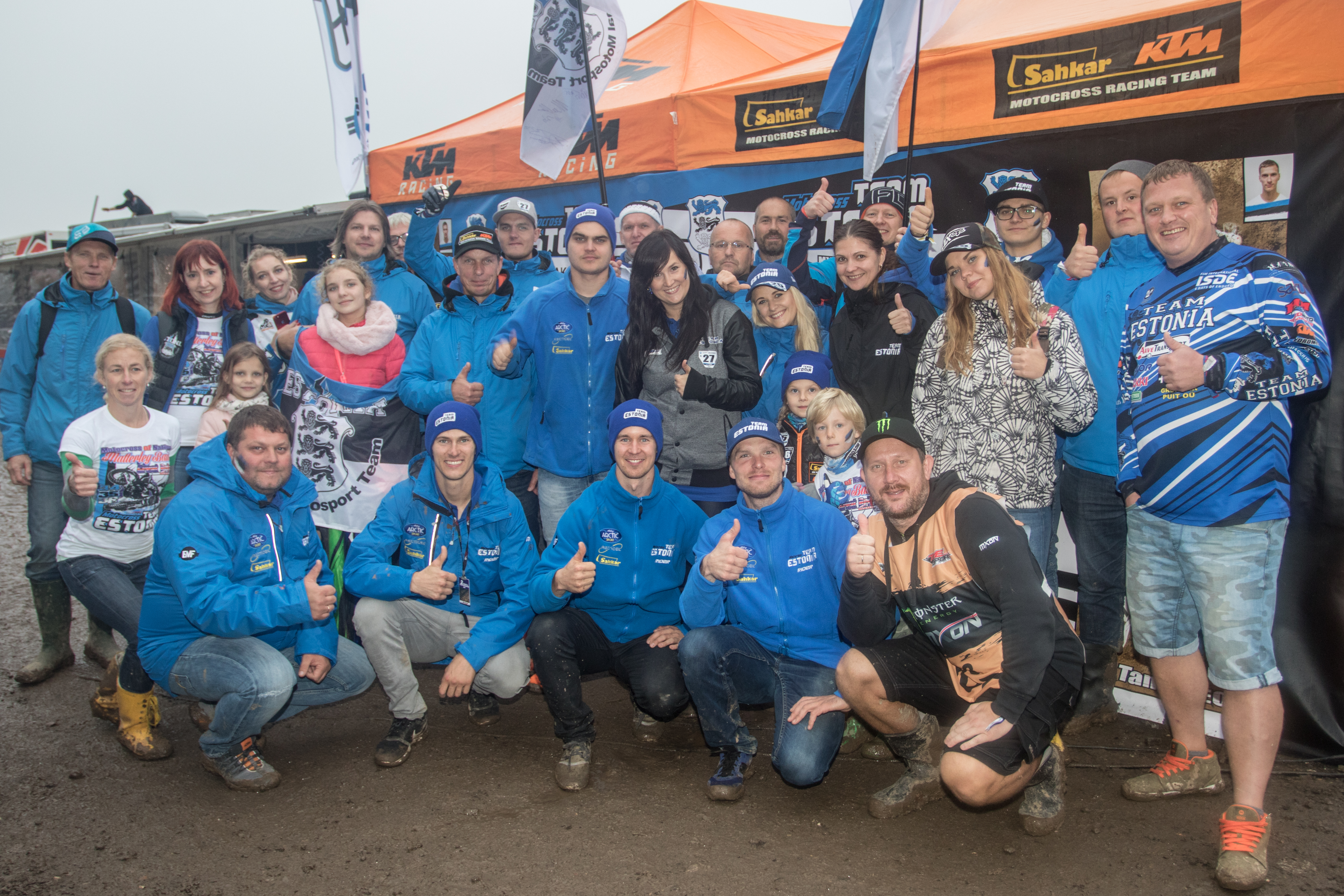 Team Estonia with fans at the 2017 Motocross des Nations in Matterley Basin, the United Kingdom.