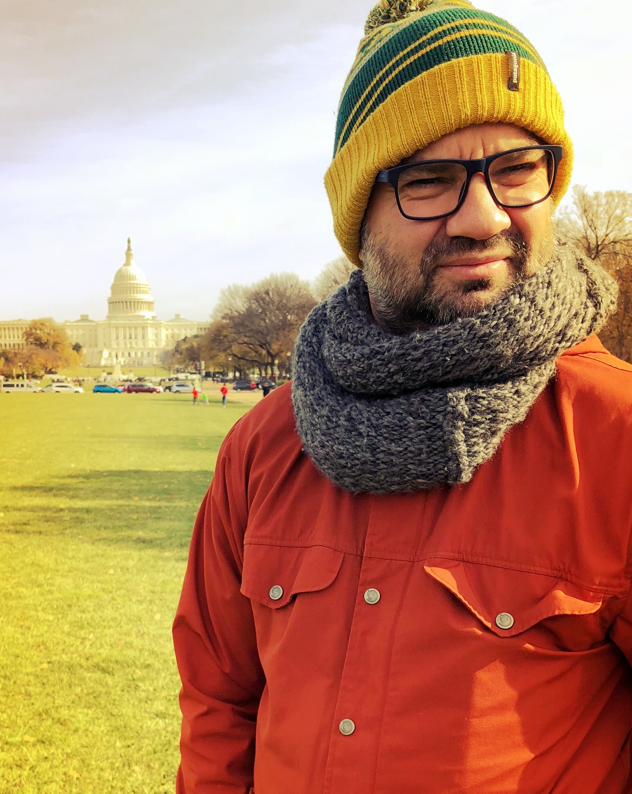 Mihkel Raud in Washington, DC, with the Capitol Hill in the background.