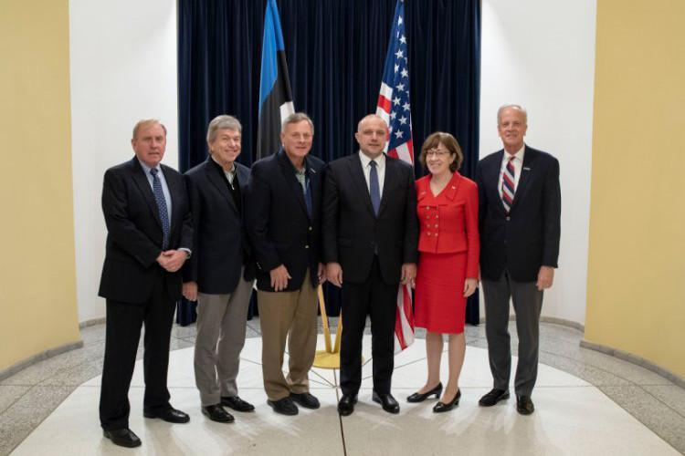 US senators at the meeting with the Estonian defence minister, Jüri Luik, in Tallinn.