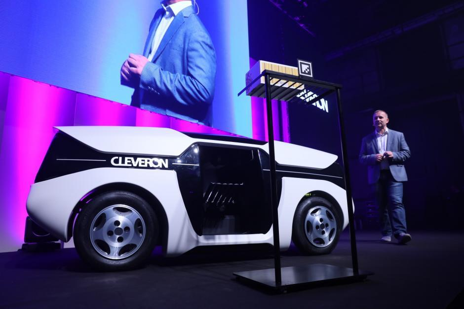 Cleveron's new autonomous robot delivery system. Image courtesy the company.