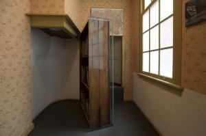 The bookcase hiding Anne Frank family's hiding place.