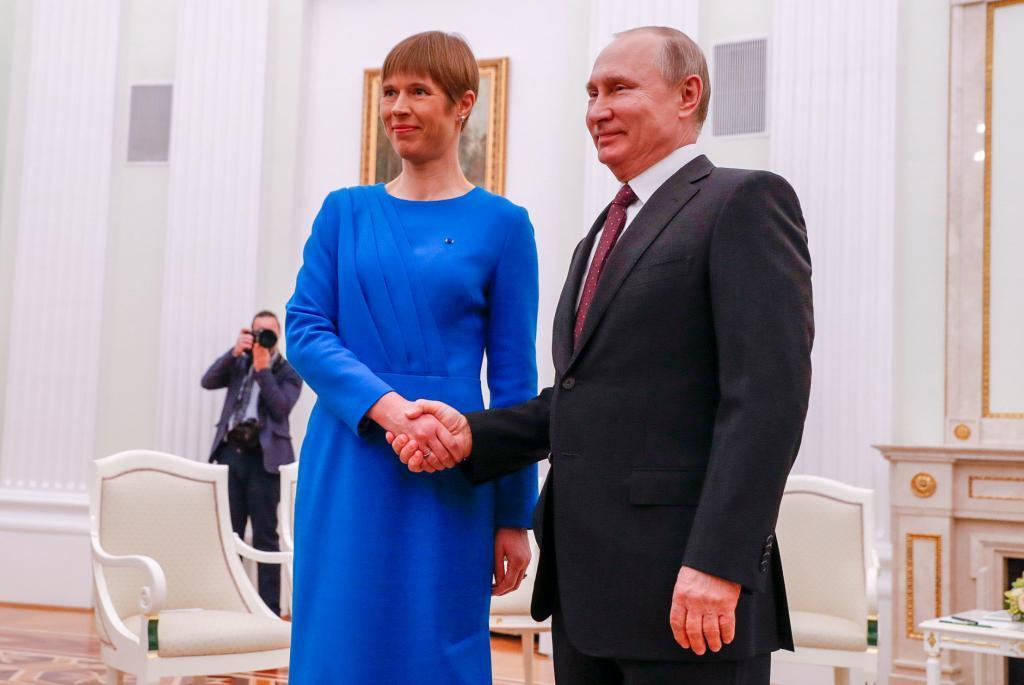 The Estonian president, Kersti Kaljulaid, meeting with her Russian colleague, Vladimir Putin.
