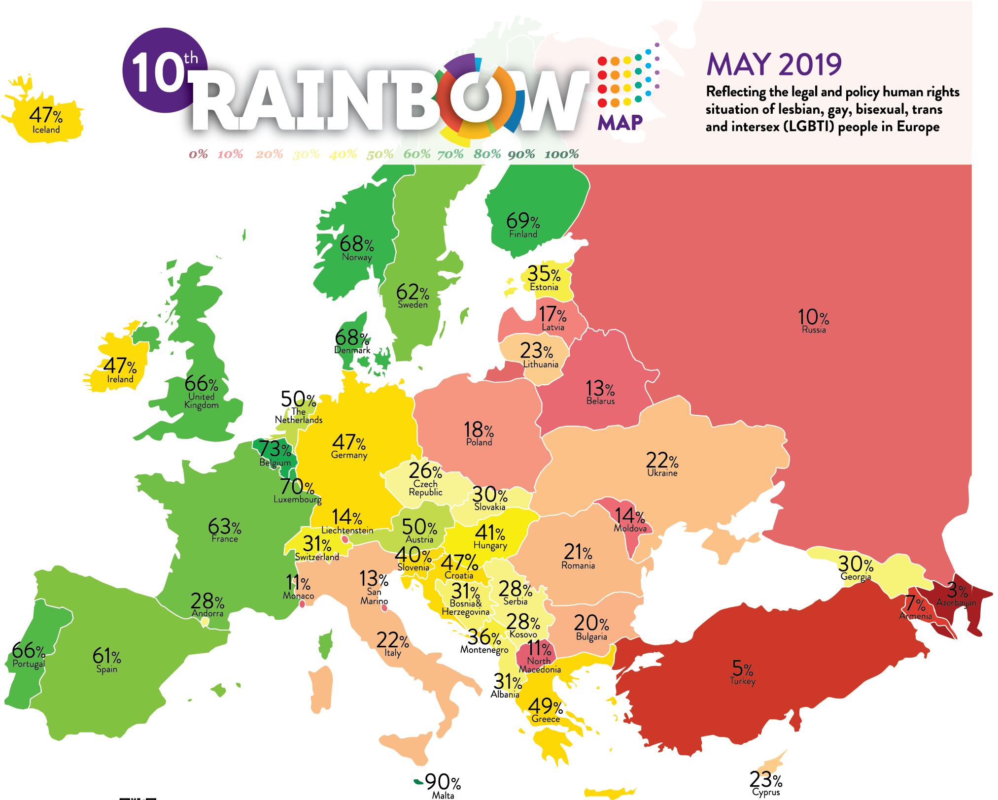 LGBT+ rights: Estonia ranks 21st on Rainbow Europe map