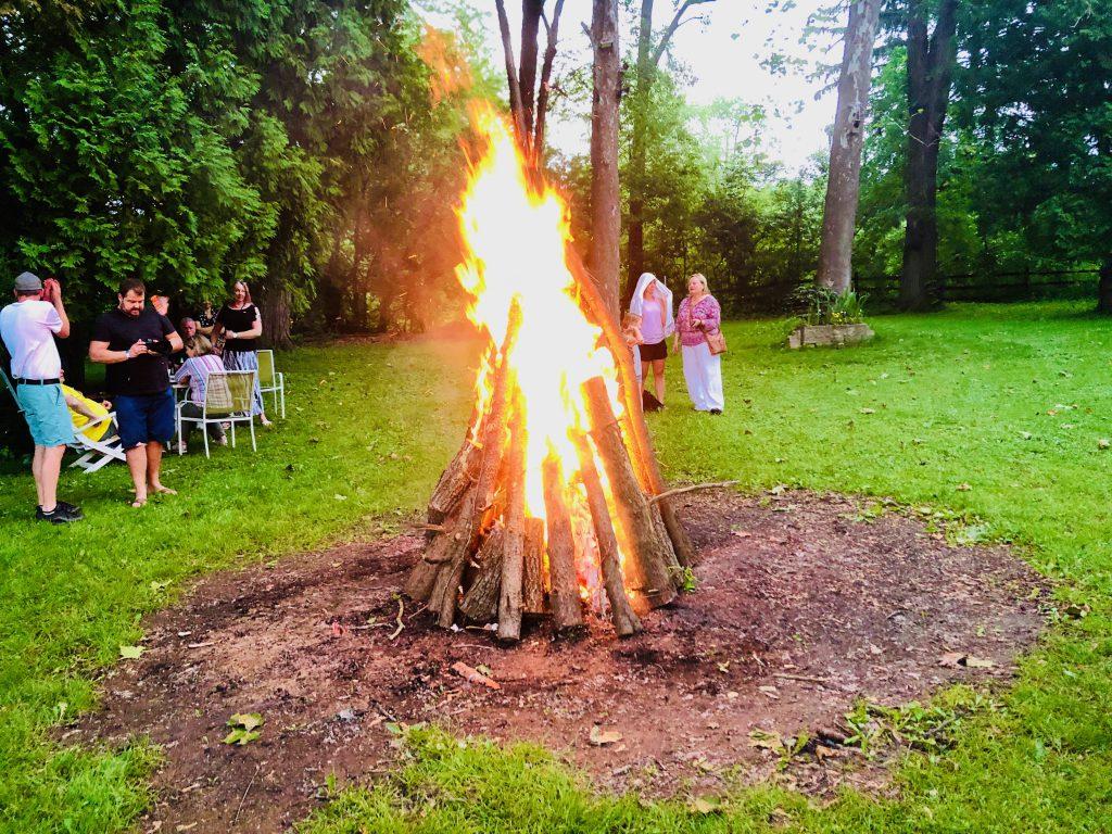 The Midsummer bonfire at the Chicago Estonian House.