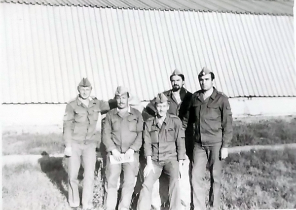 The unit leaders. The unit commander was a captain by rank, Senior Lieutenant Väino Liimann (in the middle) his deputy, and three group commanders. Photo from Liimann's private collection.