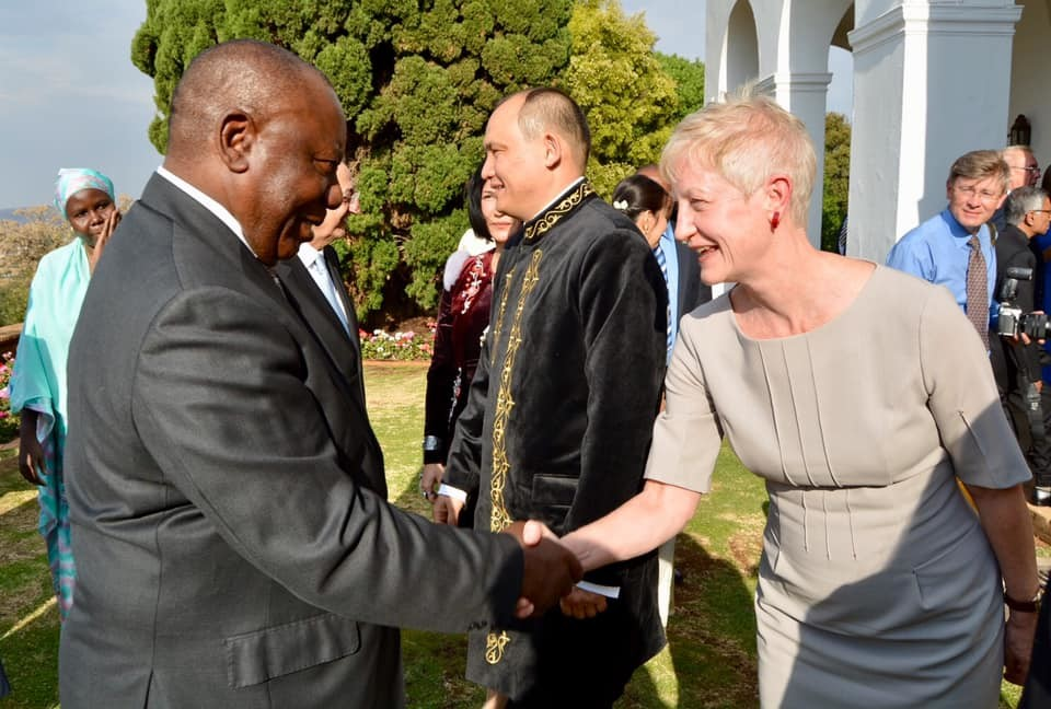 The EU's new ambassador, Estonian diplomat Riina Kionka meeting the South African president, Cyril Ramaphosa, on 15 October to present her credentials. Photo: EU Delegation to South Africa.