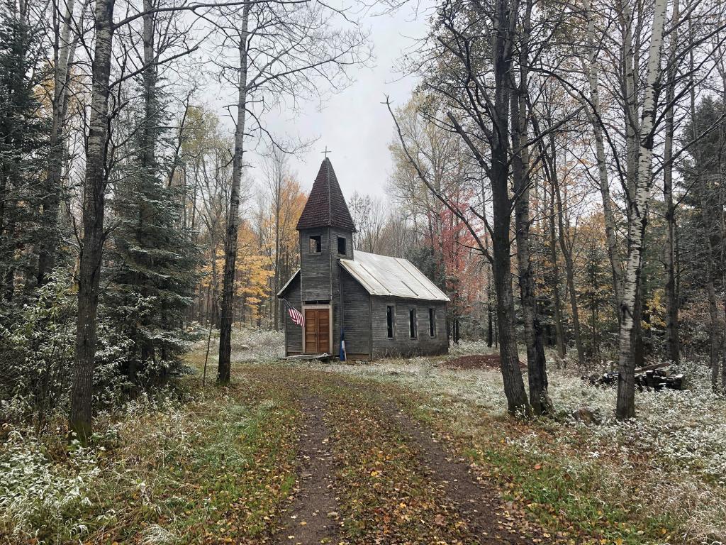 The Estonian church near Gleason, WI, in the woods. Photo by Sten Hankewitz.