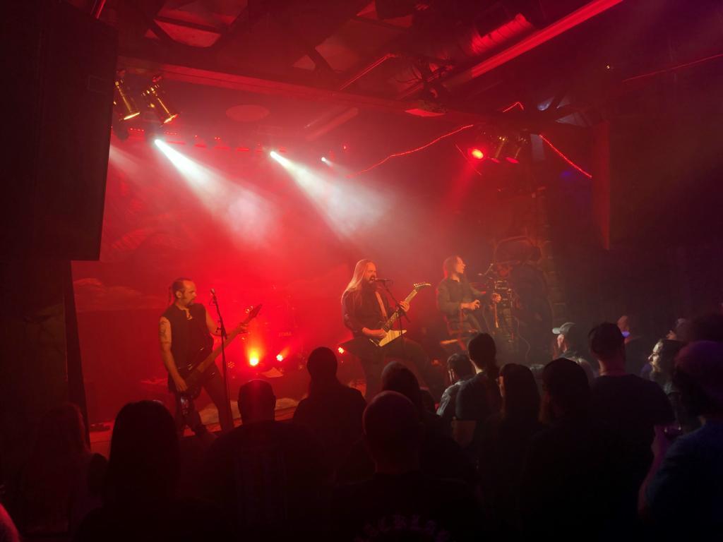 Metsatöll performing live in Chicago on 23 September 2019. From the left: Raivo Piirsalu, Markus Teeäär, Lauri Õunapuu. Photo by Sten Hankewitz.