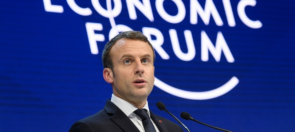The French president, Emmanuel Macron, speaking at the World Economic Forum. Photo: the French government.